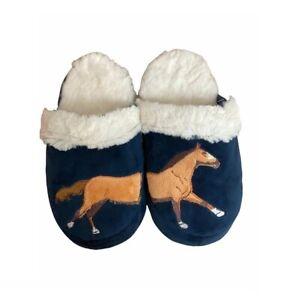 Gray's Slippers UK 1-4 Navy Horse Galloping Fluffy Slip on Slippers