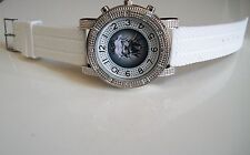 White/Silver Finish  Round Fashion Designer  HipHop Monster Style Mens Watch New