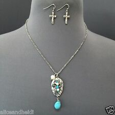 Unique Antique Silver Hammered Cross Pearl Turquoise Stone Pendant Necklace