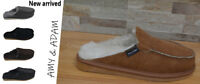 Sheepskin slippers 100% real, natural women's men's suede pattern slip on AMY
