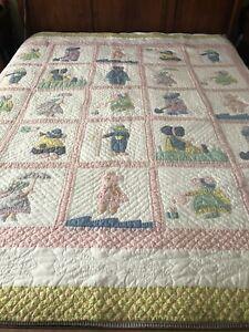 Vintage ARCH QUILTS Cotton Sunbonnet Sue Overall Sam Quilt Bedspread 73x80