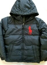 Ralph Lauren Boys Down Winter Jacket Coat Puffer Navy Big Pony Size M /10-12/