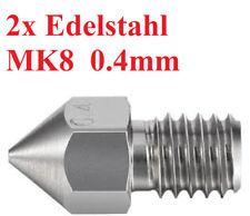 2x Edelstahl 0.4mm MK8 Steel Düsen Nozzle  3D Printer V6 V5 Drucker E3D