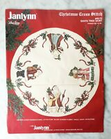 Vintage Janlynn Christmas Cross Stitch Santa Tree Skirt Kit #40-73 - Started