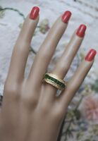 Art Deco Vintage Jewellery Gold Ring Emerald White Sapphires Antique Jewelry