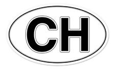 "CH Swiss Switzerland Oval car window bumper sticker decal 5"" x 3"""