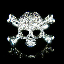 w Swarovski Crystal ~SKULL crossbone HIP HOP Death Devil gothic Cross bones Ring