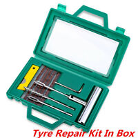 Tubeless Tire Tyre Puncture Repair Kit Box Strips Plug For Car Van Truck Bike