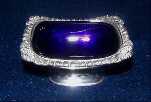 Vintage Silver Plated Salt Cellar with Glass Cobalt Blue Liner c1910