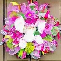 "Handmade Easter Bunny Butt & Ears Deco Mesh Wreath 24"" Spring Floral Door Decor"