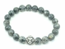 Lion Head Bracelet Stretch Beaded Larvikite Labradorite Stainless Steel Beads