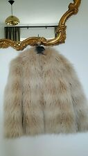 reiss 1971 ladies cream faux fur jacket coat size large