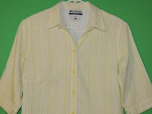 Columbia Women's Size S Small Lime Striped / Ribbed 3/4 Sleeve Button Shirt