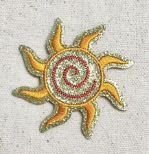 Gold Glitter - Spiral Sun - Shimmery - Iron on Applique/Embroidered Patch