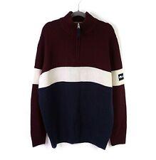 Mens Jumper Sweater Wool Mix Knit Quarter Zip Funnel Neck Colour Block Size XL