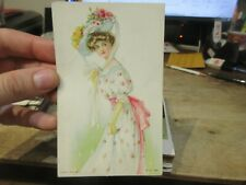 Other Old Postcard Victorian Random 1908 Bride Woman Sun Dress Floral Hat Bows