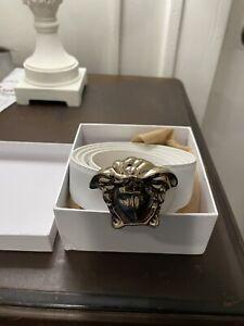 Versace Leather Medusa Head Belt - White Gold Logo - Mens Womens