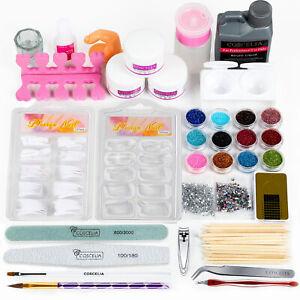 Acrylic Nail Kit Powder Art Set Acrylic Liquid Tips Brush Glue Tools Glitter Set