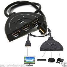PDR*CAVO SWITCH HDMI 1080p 3 PORTE FULL HD TV PRESA MULTIPLA SDOPPIATORE ADATTAT