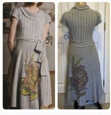 """SLEEPING ON SNOW Anthropologie Grey Handpainted """"Soft Pour"""" Sweater Dress M"""