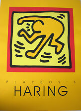 Keith Haring Seidendruck Playboy Edition orange mit oranger Figur in gelb m. rot