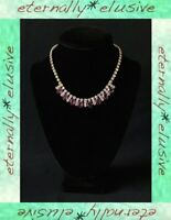 Mauve Amethyst Diamante Diamond Paste Stone Vintage Sparkling Jewellery Wedding