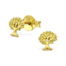 Argento Sterling 925 oro Albero della Vita orecchini a lobo