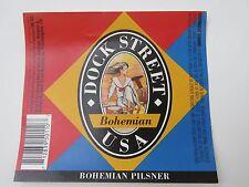 New York Brewery Beer Label ~*~ Dock Street Brewing Royal Bohemian Pilsner ~ USA