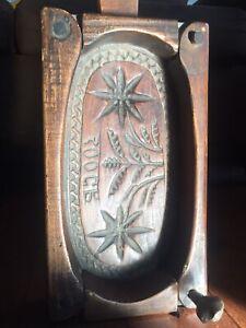 Antique Folk Art 19th Wood Butter/Sugar Mold Floral Design Detailed Carving