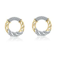 18k yellow gold gf made with Swarovski crystal twisted pattern round earrings