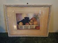 "Gorgeous Antique Still Life Fruit Picture Print White Chippy Frame 10"" x 13"" Vtg"