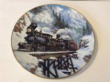 Winter Crossing Winter Rails Railroad Train Plate