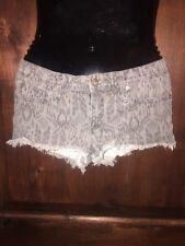 Roxy Denim Gray Black Cut Off Frayed Shorts Surf Casual Summer Size 3