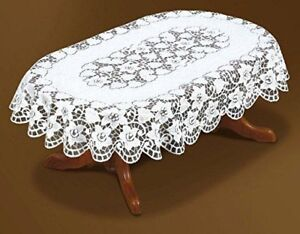 """Oval lace cream floral Tablecloth NEW 51"""" x 71"""" (130x180cm) elegant gift/present"""