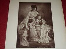 """[VINTAGE PHOTOGLYPTIE] LOBRICHON Peinture """"Couvée"""" GALERIE CONTEMPORAINE 1878"""
