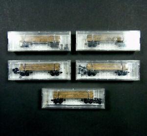 113 00 720 Micro Trains Line N Gauge Disconnect Log Car Wagon w Case Bundle of 5