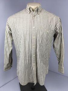 Vtg 90s CHAPS RALPH LAUREN Dress Shirt Striped Button Collar 15 1/2 32-33 USA