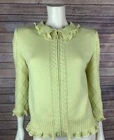 St. John Collection Cardigan Size 8 Women's Ruffle Santana Knit Sweater Zip Lime
