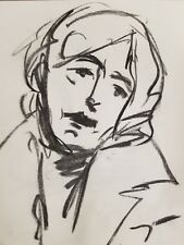 JOSE TRUJILLO Artist ORIGINAL CHARCOAL DRAWING MODERN OLDER WOMAN PORTRAIT ART