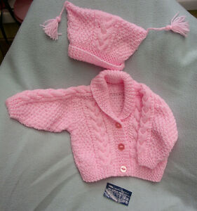 New Hand Knit Jacket & Hat for Baby Girl 1st Size