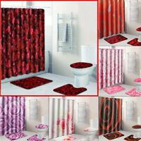 4Pcs Waterproof Bathroom Shower Curtain Bath Mat Non-Slip Rug Toilet Cover Pad