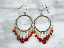 PAIR BOHO VTG GOLD VERMEIL STERLING SILVER CARNELIAN CHANDELIER DANGLE EARRINGS