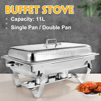11L Trays Bain Marie Chafing Dish Stainless Steel Buffet Food Warmer Buffy Stove