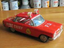 "CORVAIR TIN FRICTION TOY CAR FIRE CHIEF 9"" LONG VINTAGE"