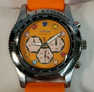 Montres Carlo Chrono Wristwatch Unisex Orange Face Silver Tone Case Rubber Band
