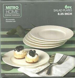 METRO HOME - 6PK OF WHITE SALAD PLATES - PORCELAIN ~ BRAND NEW