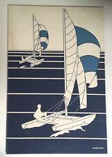 Vintage Mid Century Screenprint Wall Textile by Marushka  - Sailboats - 24 x 36
