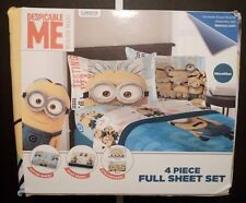 Despicable Me Minion Made 4 Piece Full Sheet Set Fitted Play Sheet Pillowcases