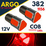 1156 Led Ba15s Red 382 Bayonet Bulbs P21w Car Fog Brake Stop Tail Light Cob 12v