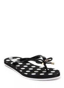 Kate Spade Nova Flip Flop Black & White Polka Dot Bow Size 6 New  $68